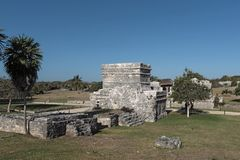 Ruins of the mayan city tulum, quintana roo, mexico.  Royalty Free Stock Image