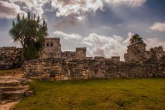 The ruins of mayan city Tulum, situated on cliffs, along the east coast of the Yucatan Peninsula on the Caribbean Sea in the state. Of Quintana Roo, Mexico royalty free stock image