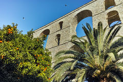 Ruins of medieval aqueduct in Kavala, East Macedonia and Thrace Stock Images