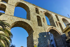 Ruins of medieval aqueduct in Kavala, East Macedonia and Thrace Royalty Free Stock Photography