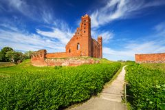 Ruins of medieval brick castle in Rydzyn Chelminski royalty free stock photo