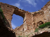 Ruins of the medieval castle stock photography