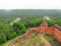 Ruins medieval Castle. Ruins of Turaida medieval Castle, Sigulda, Latvia royalty free stock image