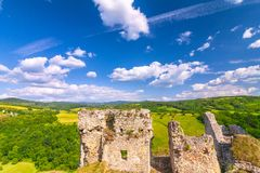 Ruins of a medieval castle Beckov with surrounding countryside stock images