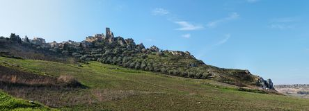 Ruins of medieval castle on the hill in Sicily Royalty Free Stock Photos