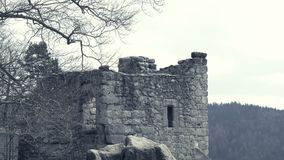 Ruins of medieval castle. Huge defensive fortification tower and bulwark. Ruins of medieval castle. Scary giant building, huge defensive fortification tower and stock video