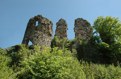 Ruins of medieval castle in Hust. Ruins of medieval Hustsky castle in Transcarpathian mountains stock images