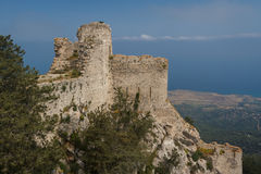 Ruins of the medieval castle of Kantara, North Cyprus royalty free stock photography