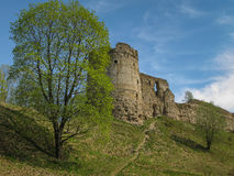 Ruins of medieval castle in Koporie, Russia. Medieval stronghold built by Russians in XIII century in order to protect the land from Swedish troops. Now in ruins Royalty Free Stock Image