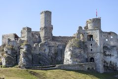 Ruins of 14th century medieval castle, Ogrodzieniec Castle,Trail of the Eagles Nests, Podzamcze, Poland. Ruins of  medieval castle, Ogrodzieniec Castle Stock Photo