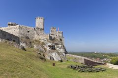 Ruins of 14th century medieval castle, Ogrodzieniec Castle,Trail of the Eagles Nests, Podzamcze, Poland. Ruins of  medieval castle, Ogrodzieniec Castle Stock Photos
