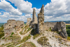 Ruins of medieval castle stock photos