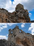 Ruins of a medieval castle on the rock Stock Photography