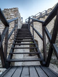 Ruins of medieval castle Smolen. Wooden stairway in the ruins of medieval castle Smolen, located on the Trail of the Eagles' Nest within the Krakow-Czestochowa Stock Image