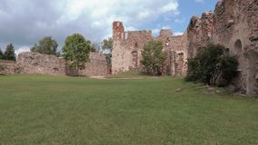 Ruins of the Medieval Castle. Time lapse stock video