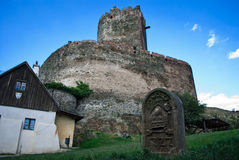 Ruins of the medieval castle with tower Royalty Free Stock Photos