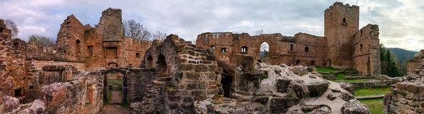 Ruins of medieval castle Wangenbourg on the top of hill, Alsace, Royalty Free Stock Images
