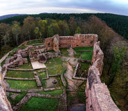 Ruins of medieval castle Wangenbourg on the top of hill, Alsace, Stock Image