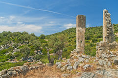 Ruins of medieval church with beautiful  landscape at background Stock Photo