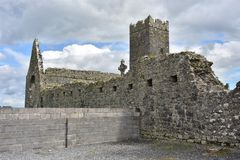 Ruins of medieval Clare Abbey. Stone ruins of medieval abbey of Clare with modern wall next to them Stock Photo