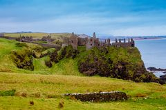 Ruins of the medieval Dunluce Castle stock photos