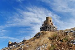The ruins of a medieval fortress Royalty Free Stock Photo