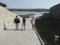 Ruins of medieval fortress in Drobeta Turnu Severin Stock Photo