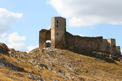 Ruins of Enisala old fortress on rocky hill stock image