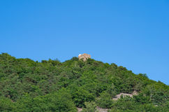 Ruins of medieval fortress on the green hill surrounded by the forest Stock Photo