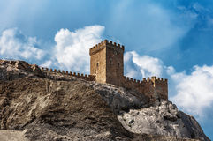 The ruins of the medieval Genoese fortress in the city Sugdeya (currently - Sudak) Stock Images