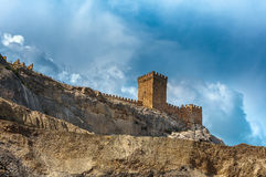 The ruins of the medieval Genoese fortress in the city Sugdeya (currently - Sudak) Royalty Free Stock Image