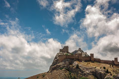 The ruins of the medieval Genoese fortress in the city Sugdeya (currently - Sudak) Royalty Free Stock Photography