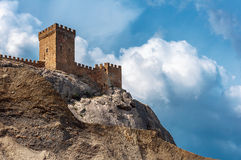 The ruins of the medieval Genoese fortress in the city Sugdeya (currently - Sudak) Stock Image