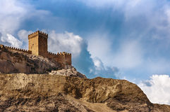The ruins of the medieval Genoese fortress in the city Sugdeya (currently - Sudak) Royalty Free Stock Photo