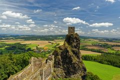 Ruins of medieval gothic castle Trosky Stock Image