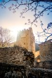 Ruins of Medieval Monastery of Jeronimos in Spain. In a valley with pine forests Royalty Free Stock Image