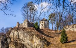Ruins of Ojcow castle in Poland Stock Photo