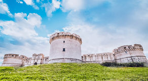 Ruins of medieval old tower of castle under blue sky in Matera Italy Stock Image