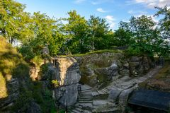 Ruins of a medieval settlement in the rocks. Germany, Saxony. Ruins of a medieval settlement in the rocks. Germany Royalty Free Stock Photos