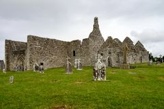 The ancient monastic city of Clonmacnoise in Ireland royalty free stock images