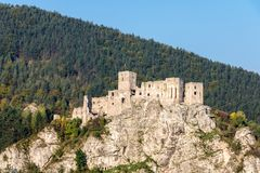Ruins of Slovak medieval Strecno castle Royalty Free Stock Photo