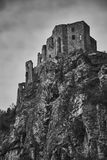 The ruins of medieval Strecno castle near Zilina in Slovakia in royalty free stock photos