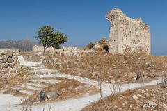 Ruins of the medieval Venetian fort Antimachia, Kos island. Greece Stock Photography