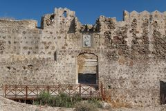 Ruins of the medieval Venetian fort Antimachia, Kos island. Greece Royalty Free Stock Images