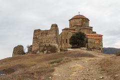 Ruins of the medieval walled monastery of Jvari Stock Images