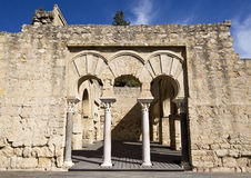 Ruins of Medina Azahara. Detail of the entrance to the Upper Basilica Hall at Medina Azahara medieval palace-city near Cordoba, Spain Royalty Free Stock Photos