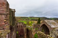 Ruins of Melrose Abbey in the Scottish Borders region in Scotlan Stock Photo