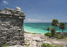 Ruins by the Mexican-Caribbean. Ruins in Mexico Royalty Free Stock Images