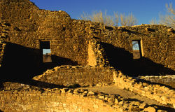 Ruins in Mexico. The ruins of an old tribal village in New Mexico under the golden rays of the sun royalty free stock photo