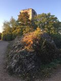 Ruins Mikulov castle, South Moravia stock photo